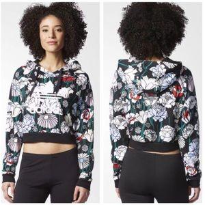 💝Adidas Floral Crop Hoodie